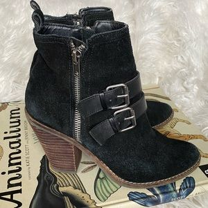 Dolce Vita black suede double zipper ankle boots